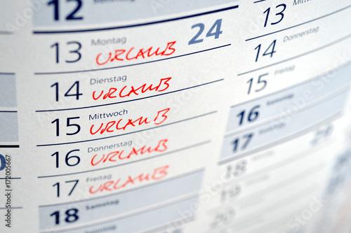 Urlaub, Urlaubsplanung, Freizeit, Reise, Erholungsurlaub, Kalender, Arbeitsrecht, Tarifvertrag, Arbeitsvertrag, Ferien, Sabbatical #172005667