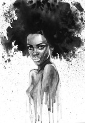 Naklejka Painting fashion african woman portrait with splashes. Watercolor monochrome beauty illustration. Hand drawn young girl