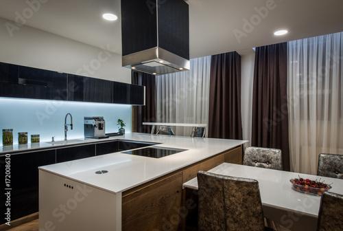 Kitchen Island And Chimney In Modern Kitchen Interior Buy This