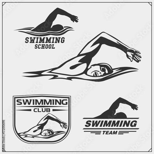 Set of swimming emblems, labels and design elements Canvas Print