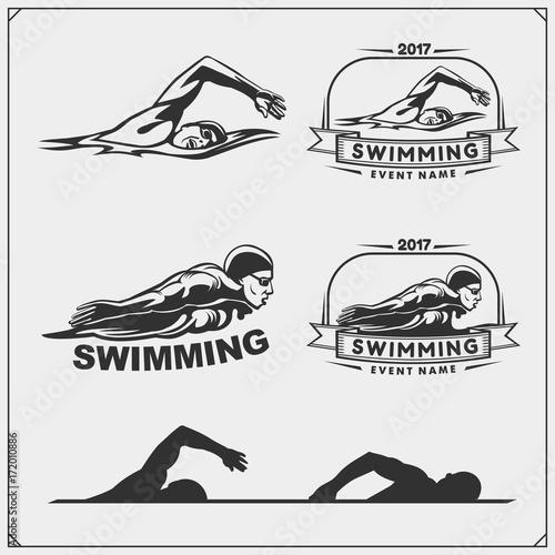 Fotografía Set of swimming emblems, labels and design elements