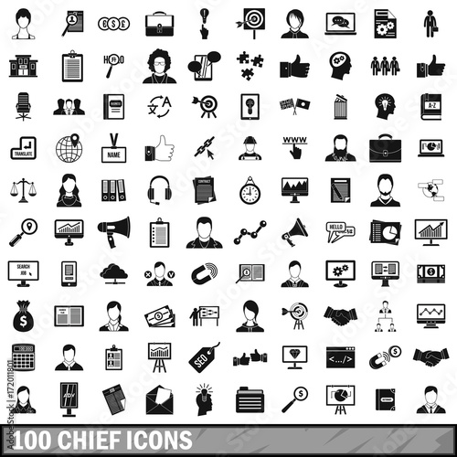 100 chief icons set, simple style Poster