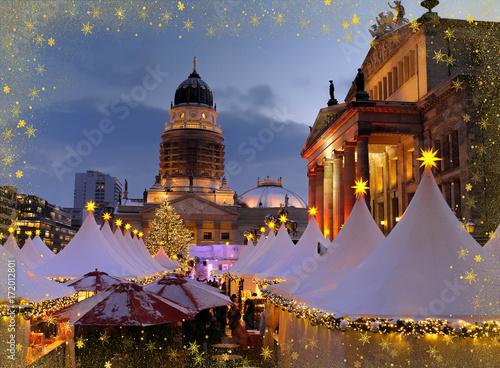 Zdjęcie XXL Gendarmenmarkt w Berlinie, Boże Narodzenie, Jarmark Bożonarodzeniowy