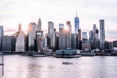 New York City Skyline at Sunset Poster