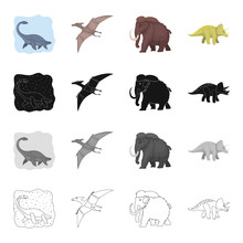 Marine Dinosaur, Pterodactyl, Prehistoric Mammoth, Triceraptor. Dinosaurs And Prehistoric Set Collection Icons In Cartoon Black Monochrome Outline Style Vector Symbol Stock Illustration Web.