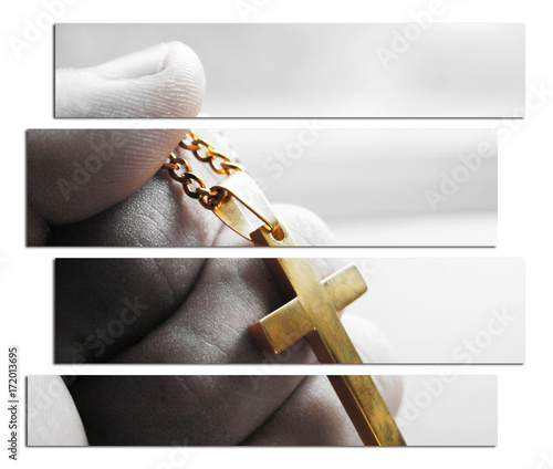 Photo Jesus Christ Art With Golden Cross In Hand Black & White High Quality