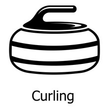 Curling Icon, Simple Black Style