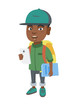 African-american smiling schoolboy with backpack using a cellphone. Little schoolboy holding cellphone and textbook in hands. Vector sketch cartoon illustration isolated on white background.