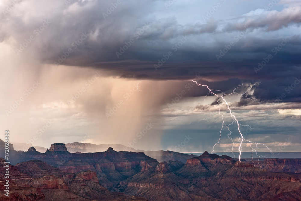 Lightning bolt strikes during a storm at the Grand Canyon