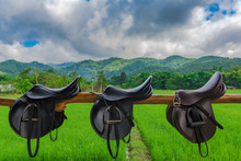 Saddle In Horse Farm With Mountain And Sky Background