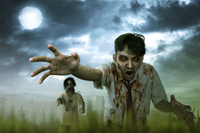 Two Asian Zombie Man With Blood And Dirty Hand Standing