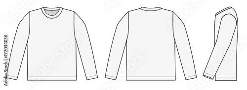 Obraz Longsleeve t-shirt illustration (white / side) - fototapety do salonu