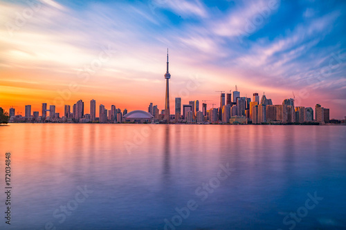 Toronto downtown skyline with sunset Wallpaper Mural