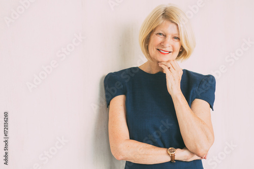 Recess Fitting Hair Salon Closeup Portrait of Happy Attractive Senior Woman