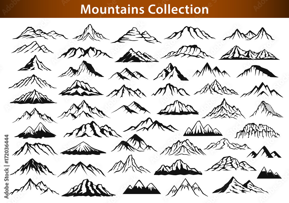 Fototapety, obrazy: different mountain ranges silhouette collection set