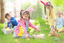 Children Having Fun In Park. E...