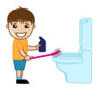 Funny Cute Small Boy Cleaning Toilet