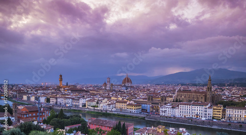 Deurstickers Toscane Panoramic view over the city of Florence from Michelangelo Square called Piazzale Michelangelo