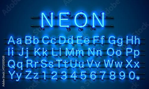 Fotografía  Neon city color blue font