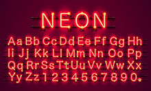 Neon City Color Red Font. Engl...
