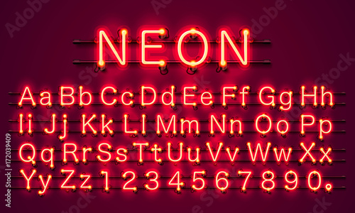 Photographie  Neon city color red font