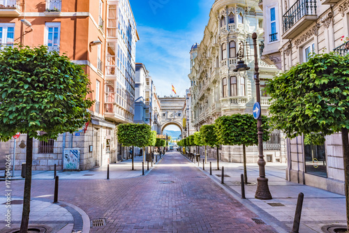SANTANDER, SPAIN - JUNE 19, 2016: Street view of Santander city center, Spain.