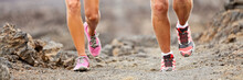 Trail Desert Run Running Shoes Legs Of Runners Training Outdoors. Banner Panorama Of Couple Training In Nature Working Out Cardio, Athletic Lifestyle. Fitness Sport Concept.