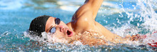 Swimming Pool Sport Crawl Swimmer Athlete Banner. Man Doing Freestyle Stroke Technique In Water Pool Lane Training For Competition. Healthy Active Lifestyle Panoramic Header For Copy Space.