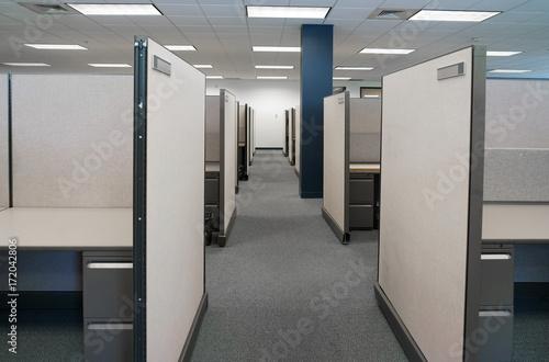 Fototapeta cubicles inside office building, place of work obraz