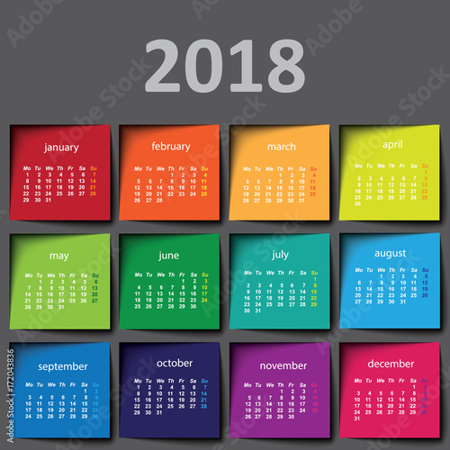 Fotografia  2018 calendar. Color post it