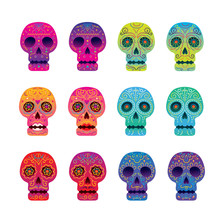 Day Of The Dead Skull Set, Col...