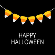 Happy Halloween Card. Candy Corn Bunting Flags Pack. Party Decoration Element. Flag Garland. Hanging On Rope Thread. Orange White Triangle Set. Flat Design. Black Background.