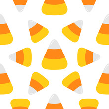 Happy Halloween. Candy Corn Big. Seamless Pattern. Wrapping Paper, Textile Template. Print Template. Flat Design. White Background.