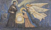 CARAVAGGIO, ITALY - 24-8-2017. Mosaic: Nativity
