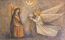 CARAVAGGIO, ITALY - 24-8-2017. Mosaic: Annunciation Of VIrgin.