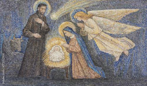 Fototapeta CARAVAGGIO, ITALY - 24-8-2017. Mosaic: Nativity