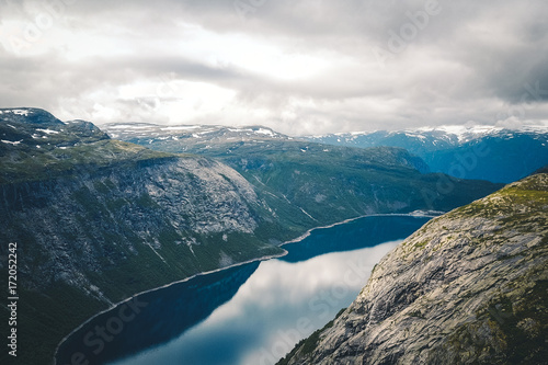 Spoed Foto op Canvas Scandinavië View to fjord and water from drone in Norway