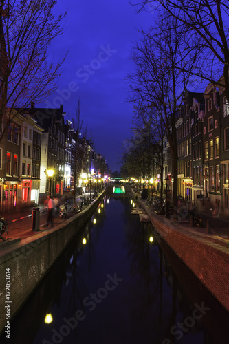 Deurstickers Amsterdam red light district of Amsterdam by night