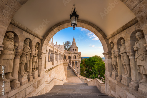 Budapest, Hungary - The guardians of the famous Fisherman Bastion on the Buda Hill in the morning