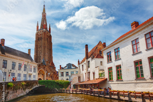 Deurstickers Brugge Canals of Bruges (Brugge). Church of Our Lady, Onze Lieve Vrouw Brugge