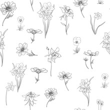 Outline Floral Seamless Pattern With Flowers In Vintage Style. S