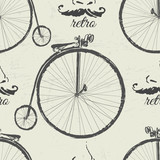 Atrament ręcznie rysowane retro rowery wzór - 172057049