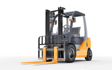 3d Rendering Forklift Truck On White Background. Front Side View. Bottom View