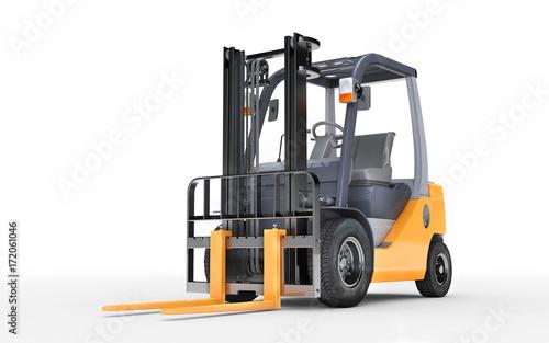 Plakat 3d renderingu forklift ciężarówka na białym tle. Widok z przodu. Widok z dołu
