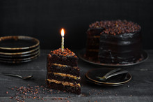 Chocolate Cake With Birthday C...