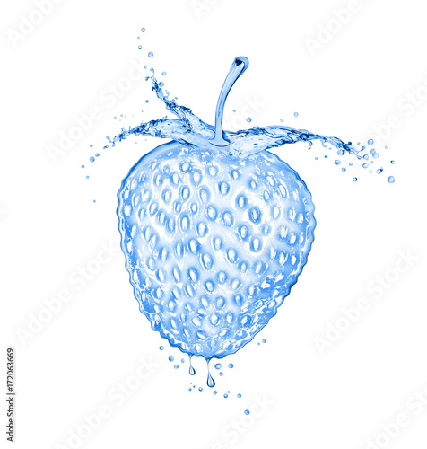 Strawberry made of water splashes. Concept image on white background