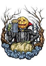 Halloween Pumpkin Head Creature With A Pint Of Beer. Illustration An Emblem With Pumpkin Head Jack, Cheering With Mug Of Beer