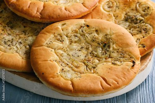Obraz Traditional polish bread with onion known as cebularz. - fototapety do salonu