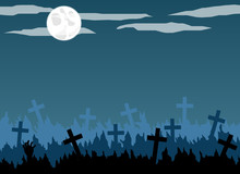Old Graveyard With Crosses In The Moonlight