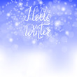 Hello Winter Lettering on Blue Sky Background